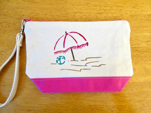 Clutch Purse with Umbrella at the Beach, Handmade & Hand Stenciled 9x6