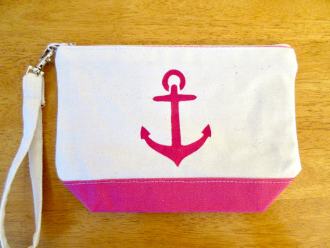 Clutch Purse with Pink Anchor, Handmade & Hand Stenciled 9x6