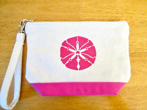 Clutch Purse with Pink Sand Dollar, Handmade & Hand Stenciled 9x6