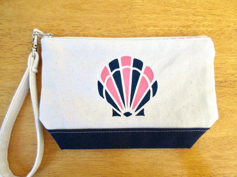 Clutch Purse with Pink & Navy Scallop Shell, Handmade & Hand Stenciled 9x6