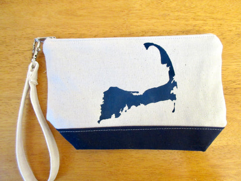 Clutch Purse with Cape Cod Silhouette, Handmade & Hand Stenciled 9x6