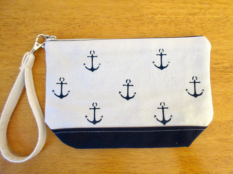 Clutch Purse with Mini Anchors, Handmade & Hand Stenciled 9x6