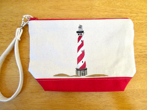 Clutch Purse with Lighthouse, Handmade & Hand Stenciled 9x6