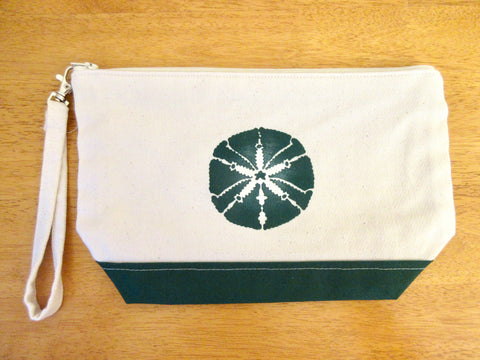 Clutch Purse, Canvas & Green Contrast, with Green Sand Dollar , Handmade & Hand Stenciled 11x6