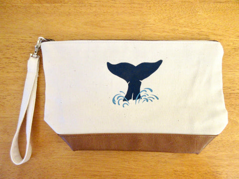 Clutch Purse with Whale's Tail, Leatherette Contrast, Handmade & Hand Stenciled 11x6