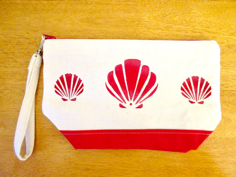 Clutch Purse, Canvas & Red Contrast, with Red Scallop Shells , Handmade & Hand Stenciled 11x6