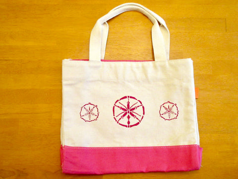 Canvas Colorblock Tote Bag with Pink Contrast and Pink Sand Dollars
