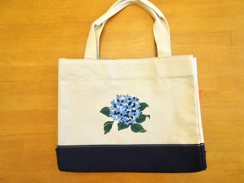 Canvas Colorblock Tote Bag with Hydrangeas