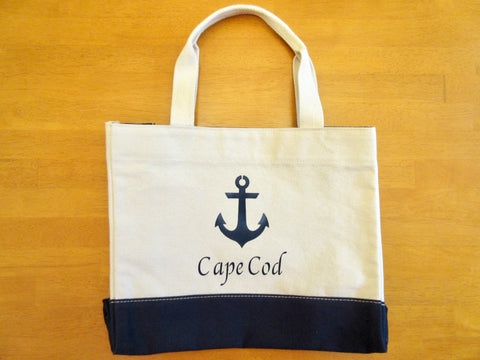 Canvas Colorblock Tote Bag with Navy Blue Anchor