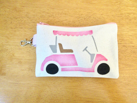 Ladies Lined 5x7 Clip On Golf Bag - Pink golf cart