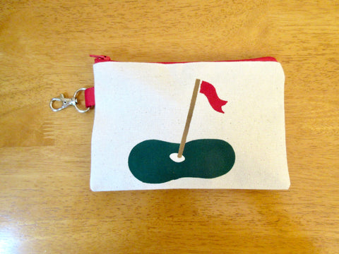 Ladies Lined 5x7 Clip On Golf Bag - putting green & flag