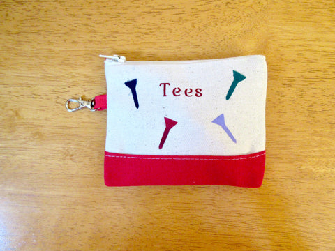 Tee golf pouch or change purse, clip on bag, colorful tees, 4 x 4 1/2""