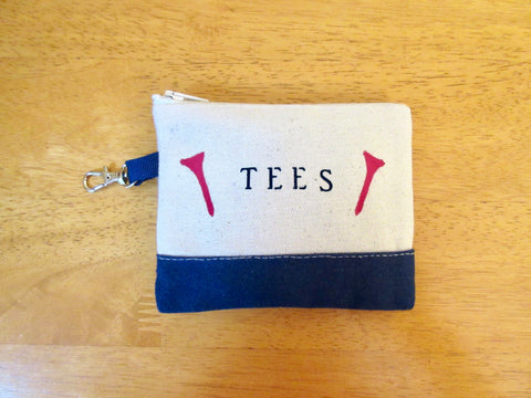 Tee golf pouch or change purse, clip on bag, 4 x 4 1/2""