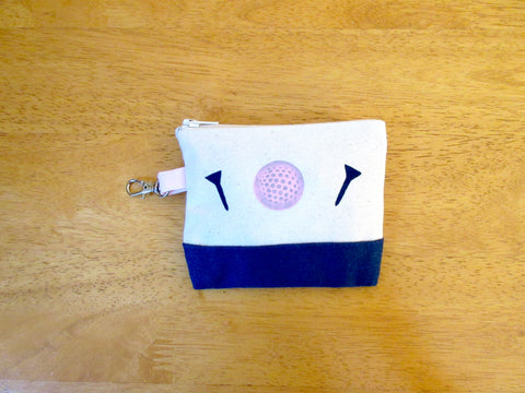 Tee golf pouch or change purse, clip on bag, golf ball & tees, 4 x 4 1/2""