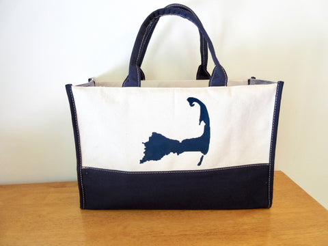 Cape Cod Canvas Tote Bag with Zippered Top and Navy Cape Cod Silhouette 12x18x7
