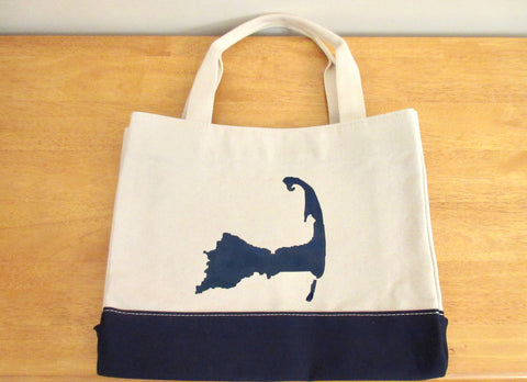 Canvas Colorblock Tote Bag with Navy Blue Cape Cod Silhouette