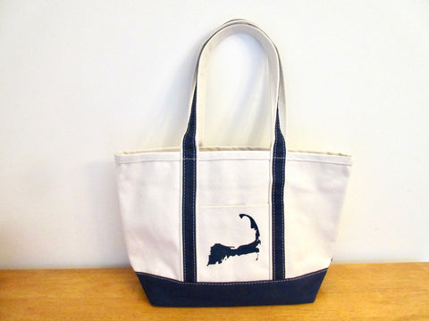 Cape Cod Medium Heavyweight Boat Tote with Silhouette 12x18x6