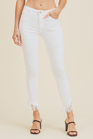 Skinny Jean with Diagonal Hem - White