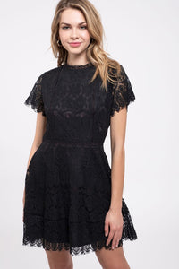 Empire Lace Dress - Black