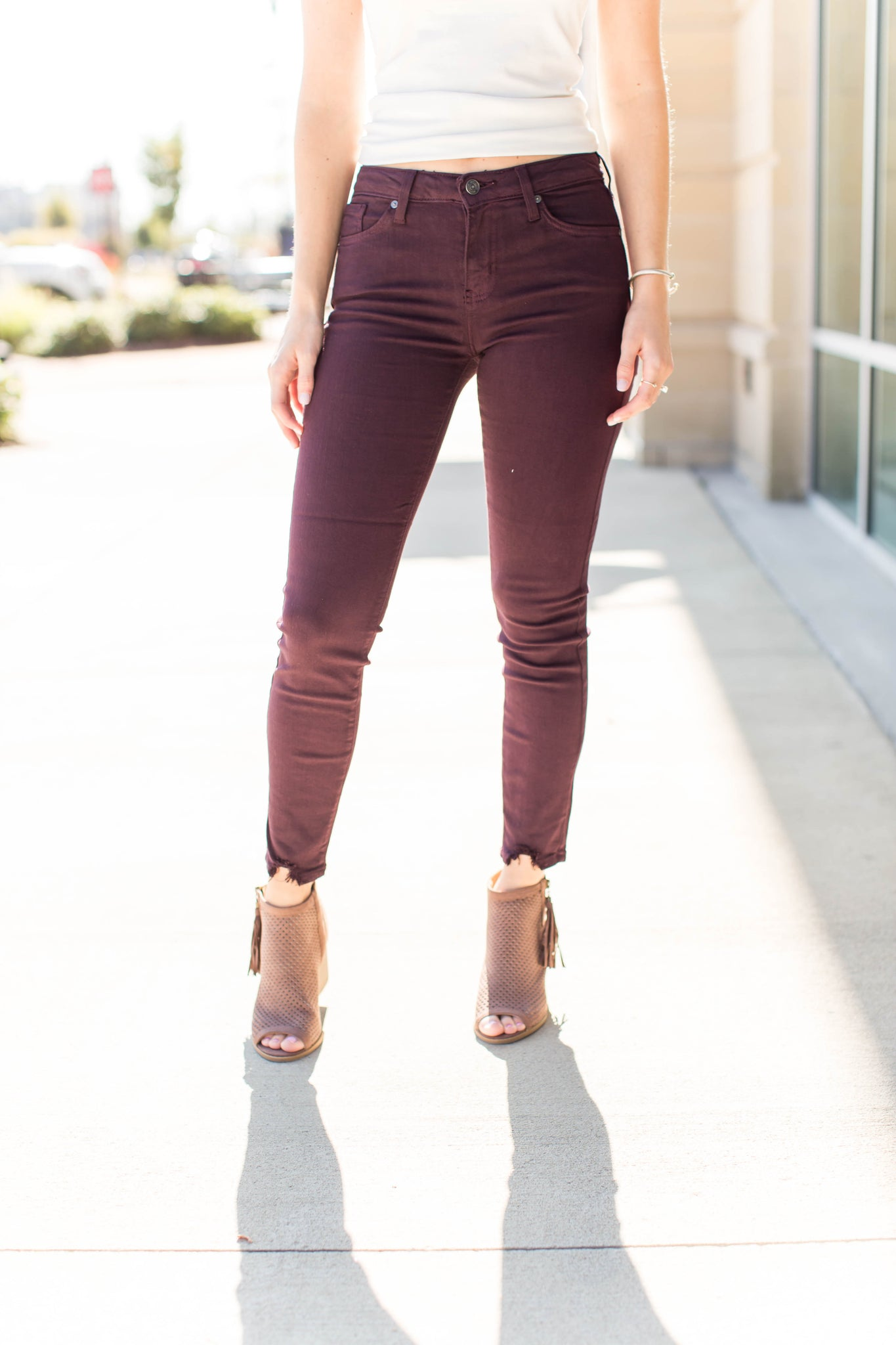 Hem Destruction Skinny - Maroon