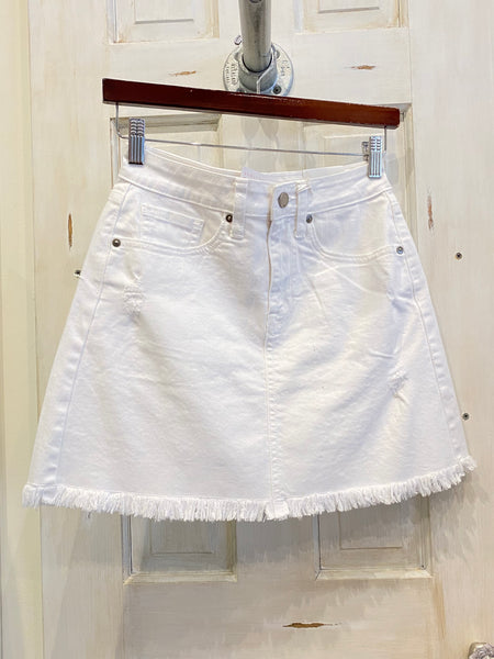 White Denim Skirt w/ Frayed Hem