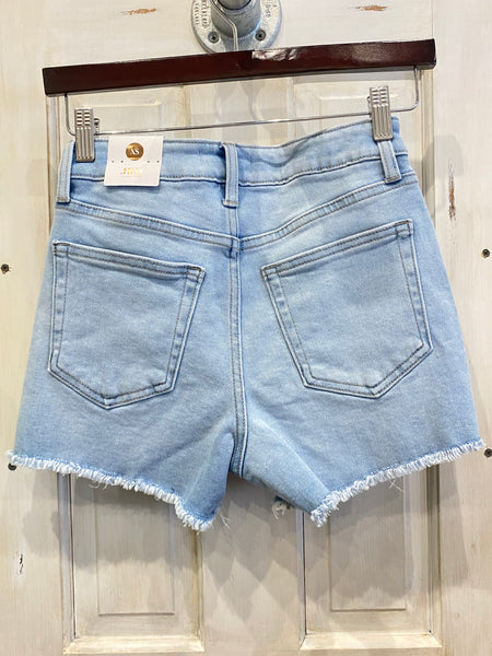High Rise Frayed Denim Short