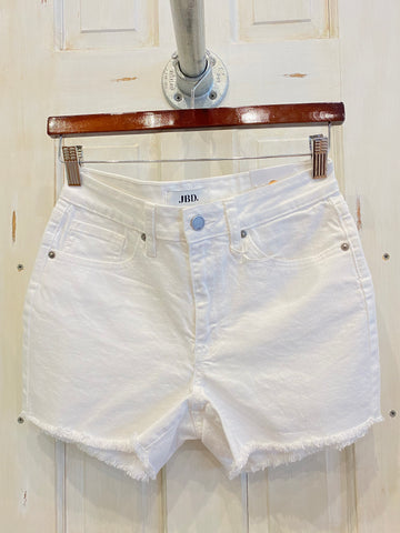 White High Rise Frayed Denim Short