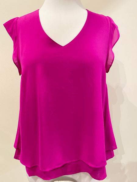 Layer Cap Sleeve Top- Fuschia