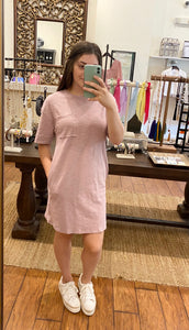 Dusty Pink Pocket T-Shirt Dress