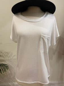 Heather Pocket Tee - White