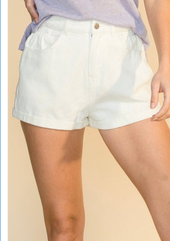 Blake Denim Shorts - White