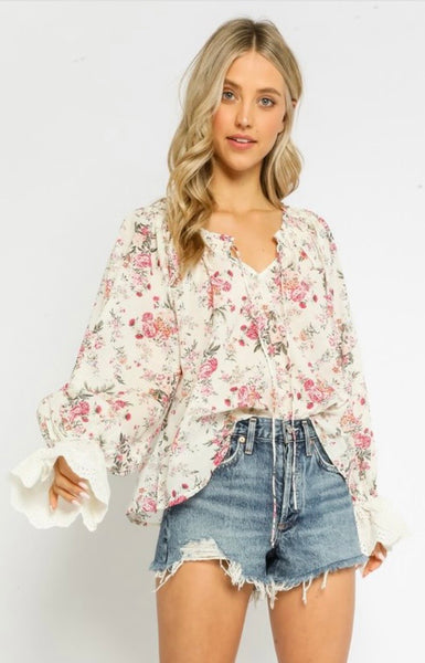 Blush Floral Bell Sleeve Blouse