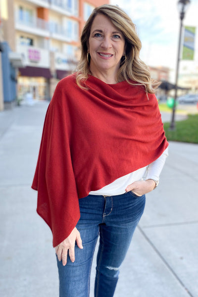 8 Way Poncho - Brick Red