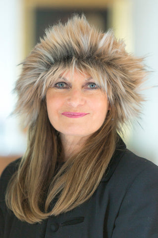 Black/Carmel Fun Faux Fur Hat