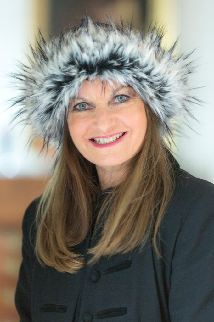 Black/White Tip Faux Fur Hat