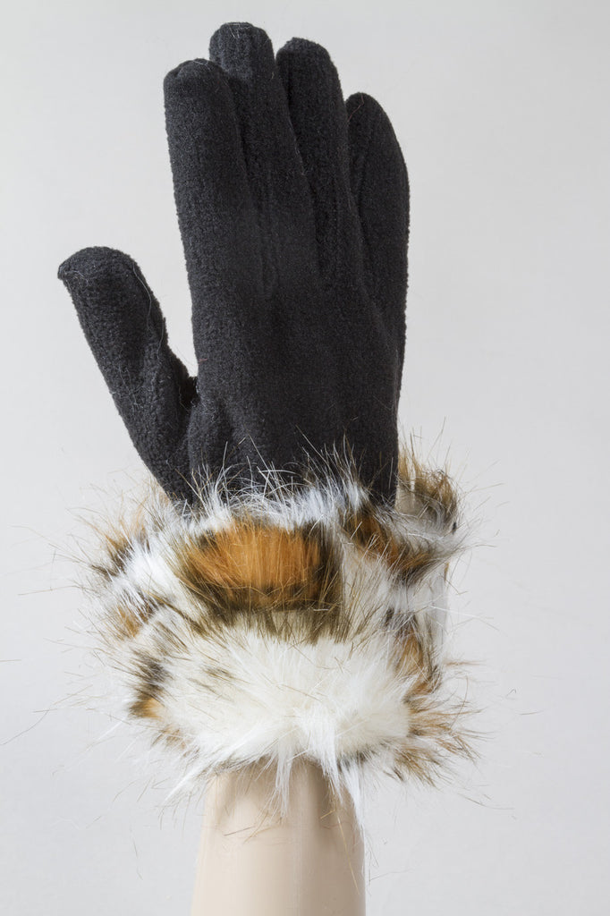 White Leopard Fleece Gloves