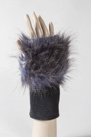 Blue Feathers Faux Fur Fingerless Glove
