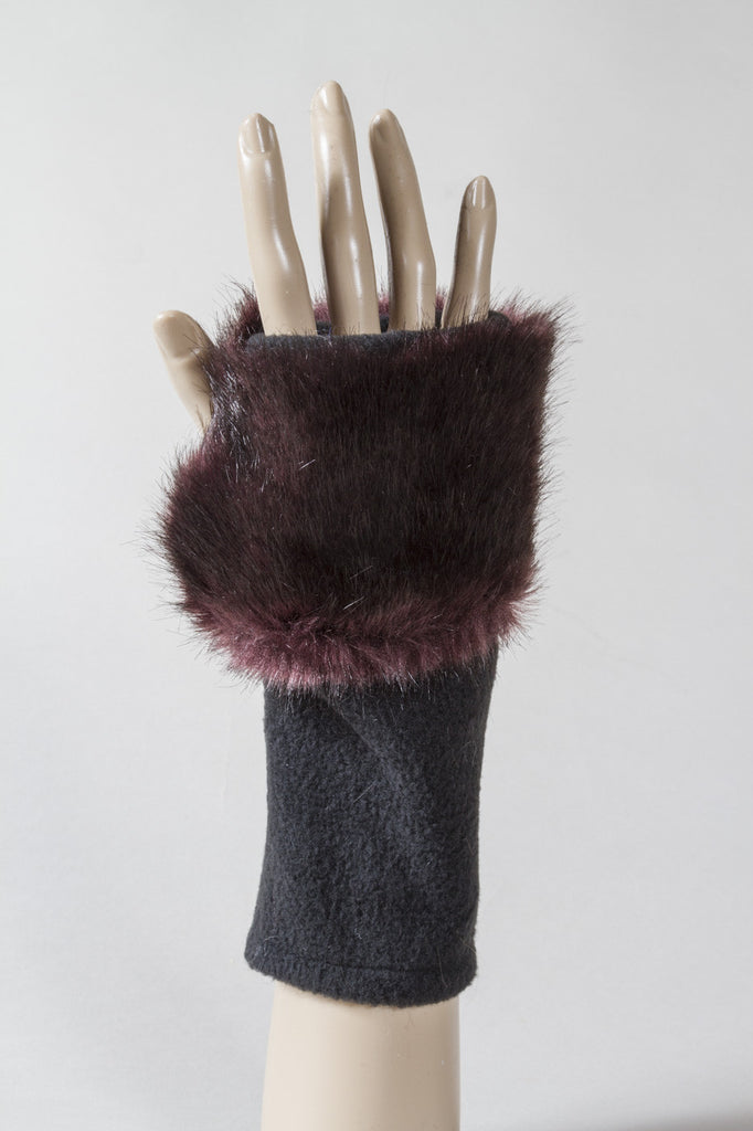 Purple Velvet Faux Fur Fingerless Glove