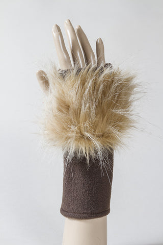 Butterscotch Faux Fur Fingerless Glove