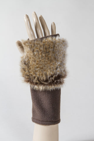 Brown/Silver Faux Fur Fingerless Glove