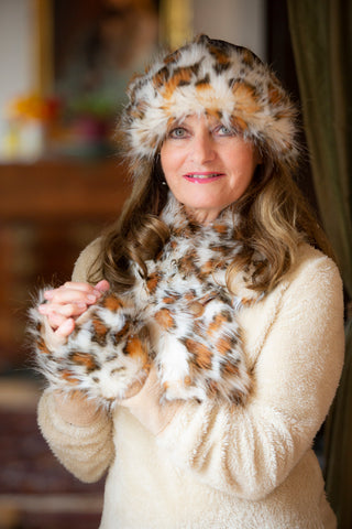 White Leopard Faux Fur Hat