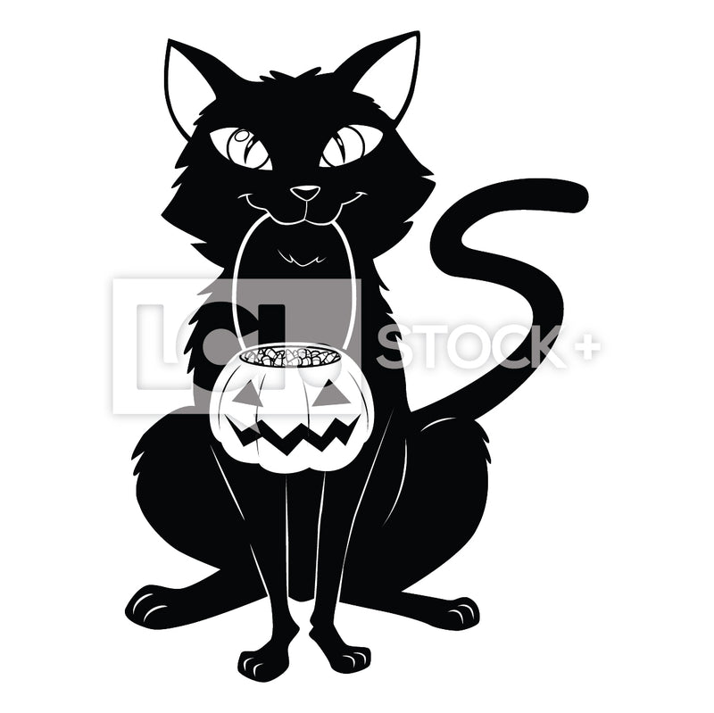 Black Cat Holding A Bucket Of Halloween Candy Vector Clipart