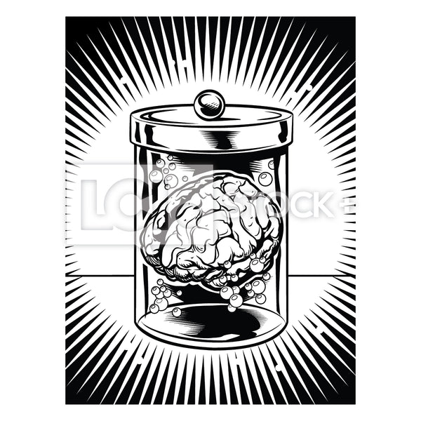 Brain In Jar 2 Vector Clipart