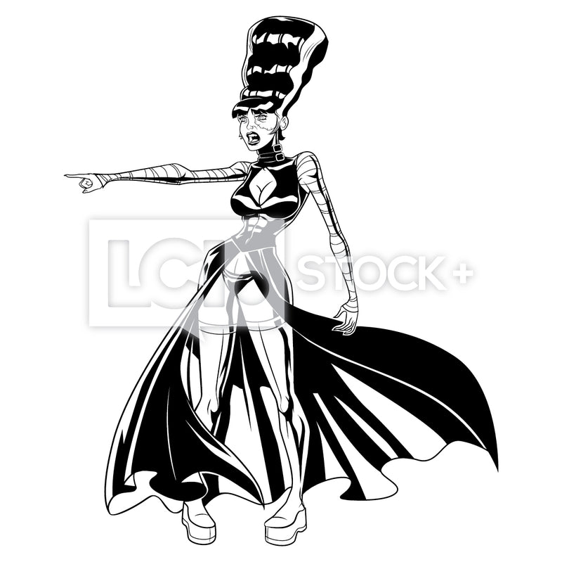 Bride Of Frankenstein 3030 Screaming & Pointing Vector Clipart