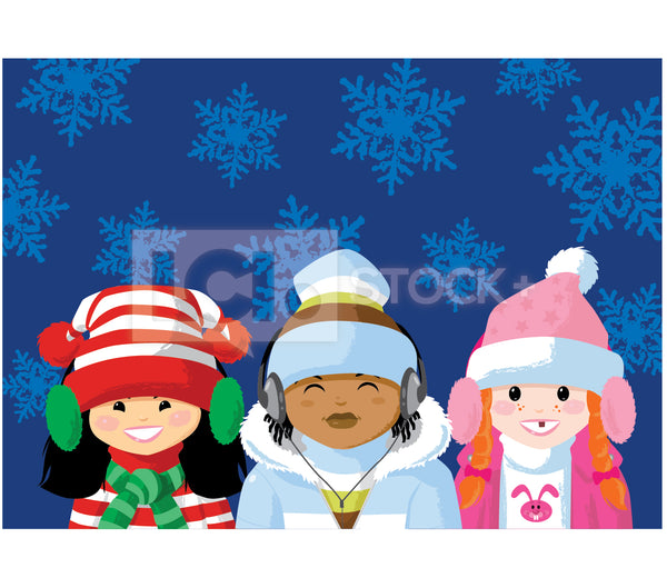 Multicultural Christmas Kids Vector Clipart