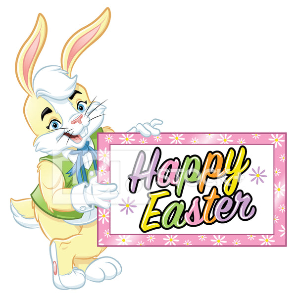 Easter Bunny Standing & Holding Happy Easter Banner Vector Clipart
