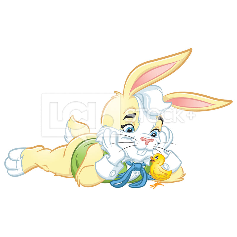 Easter Bunny Lying Down & Listening An Easter Chick Vector Clipart