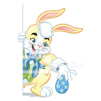 Easter Bunny Hiding & Placing An Easter Egg Vector Clipart