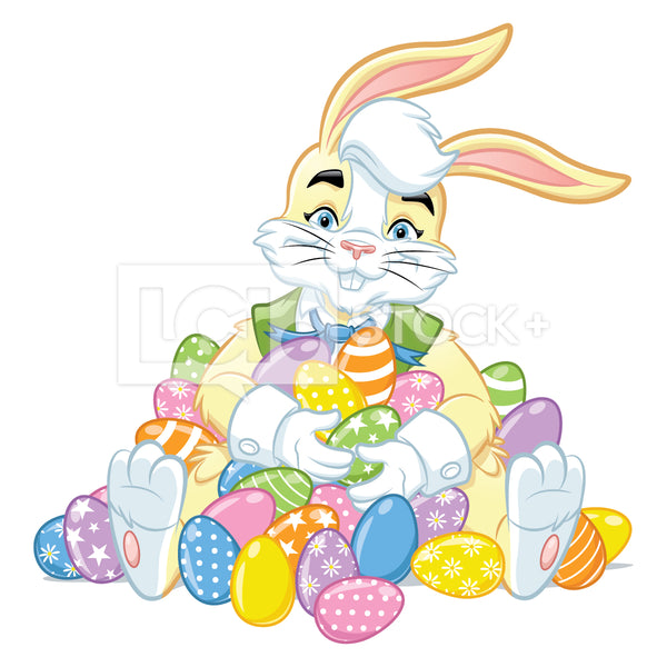 Easter Bunny Sitting In A Pile Of Easter Eggs Vector Clipart