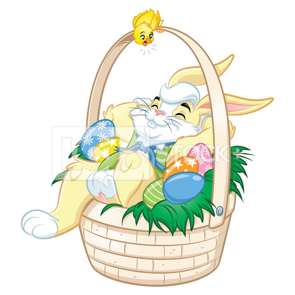 Easter Bunny Lying In A Easter Basket Vector Clipart